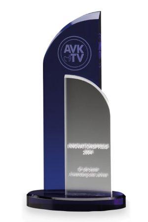 "Glaspokal ""Blue Wing Award"" mit Glasgravur"