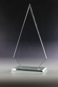 """Glastrophäe """"Mevo Award"""" mit Glasgravur"""