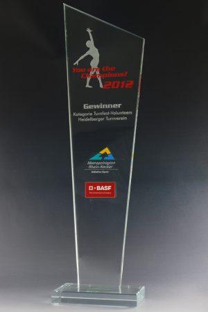 "Glaspokal ""Craca Award"" mit Lasergravur"