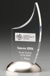 "Glastrophäe ""Metallicus Sail Award"" mit Glasgravur"