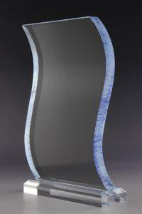 """Glastrophäe """"Rebus Award"""" mit Glasgravur"""