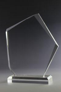 """Glastrophäe """"Saxum Award"""" mit Glasgravur"""
