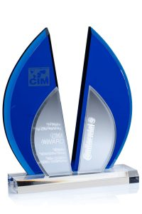 "Glaspokal ""Blue Flight Award"" mit Glasgravur"