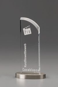 """Glaspokal """"Metallicus Wing Award"""" mit Glasgravur"""