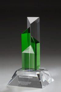 "Glastrophäe ""Prasinus Castellum Award"" mit Glasgravur"