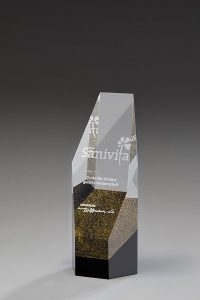 """Glastrophäe """"Aurum Award"""" mit Lasergravur"""