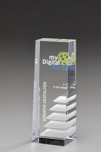 "Glastrophäe ""Bonus Award"" mit Glasgravur"