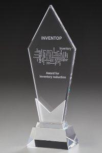 """Glastrophäe """"Frozen Pentagon Award"""" mit Glasgravur"""