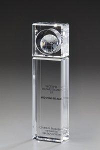 """Glastrophäe """"Optimus Award"""" mit Glasgravur"""