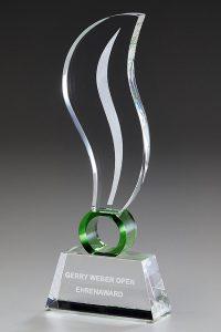 "Glaspokal ""Prasinus Blaze Award"" mit Lasergravur"