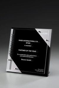 "Glastrophäe ""Sunray Chrome Award"" mit Glasgravur"