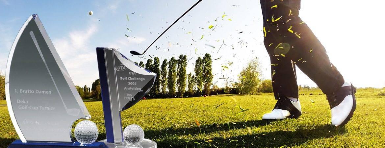 Golfpokale mit Glasgravur