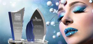 Glastrophäen der Crystal Blue Kollektion von Glaswert