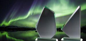 Glastrophäen der Green Floated Kollektion von Glaswert