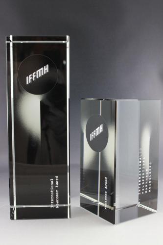 Glastrophäen mit Lasergravur und Digitaldrucke für das Internationales Filmfestival Mannheim und Heidelberg