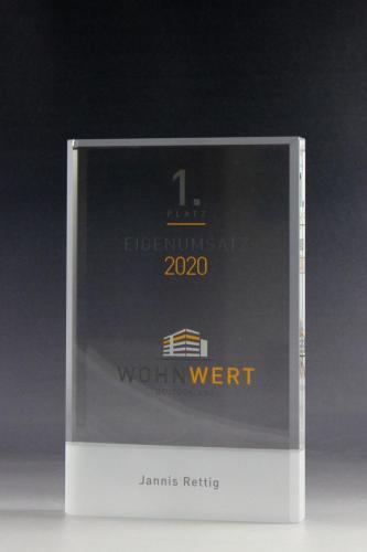 Glastrophäe mit UV-Direktdruck bei Glaswert bestellen
